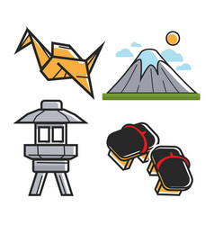 Japan travel symbols and culture or famous vector
