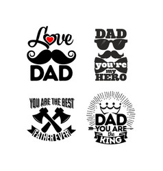 logos and cards with typography about dad vector image