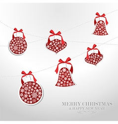 Merry Christmas snowflakes baubles vector image
