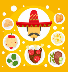 mexican man food tradition concept background vector image