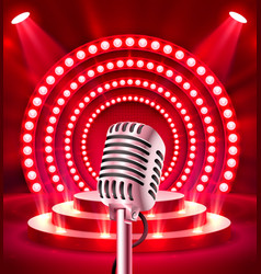 microphone on red scene vector image