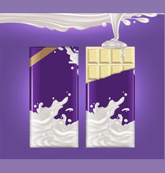 mockup of milk chocolate advertising two tiles of vector image
