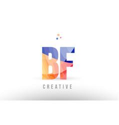 Orange blue alphabet letter bf b f logo icon vector