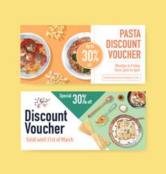 Pasta voucher design with spoon spaghetti vector
