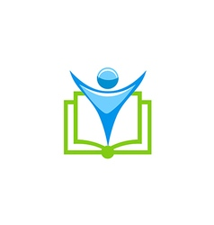 people open book education school logo vector image