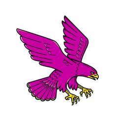 Peregrine falcon swoop mono line vector
