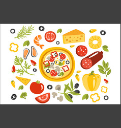 pizza preparation set of ingredients vector image