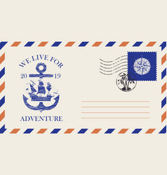 postal envelope on theme travel with stamp vector image