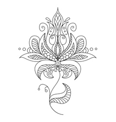 Pretty dainty ornate vintage floral motif vector