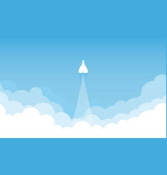 rocket on sky blue color design illumination vector image