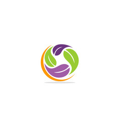 round circle leaf colored eco logo vector image