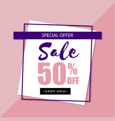 Sale special offer 50 off square frame background vector