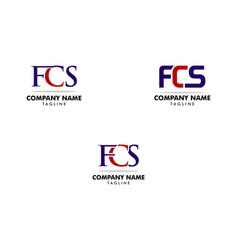 set initial letter fcs logo template design vector image