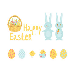 set of bright elements for easter includes vector image