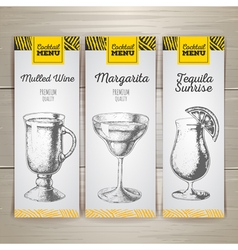 Set of cocktail sketch banners vector