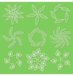 Set of floral logo on green background vector image