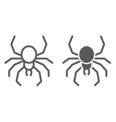 Spider line and glyph icon spooky and animal vector