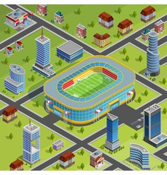Sport Stadium City Isometric Poster vector image