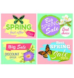 Spring best offer banners set vector