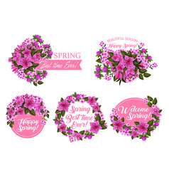Spring season holiday icon with pink flower frame vector