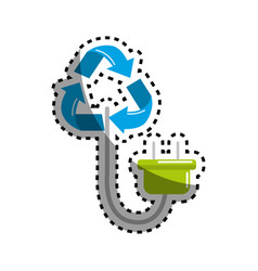 Sticker reduce symbol with power cable icon vector