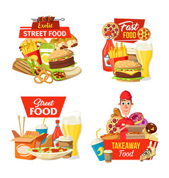 street fast food delivery icons and deliveryman vector image