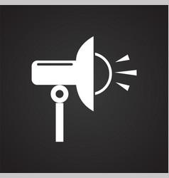 Studio flash strobe icon on black background for vector