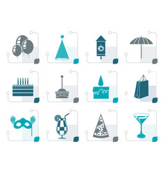 stylized party and holidays icons vector image