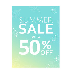 summer sale poster with floral element vector image