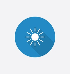 sun Flat Blue Simple Icon with long shadow vector image vector image