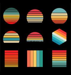 Sunset vintage retro styles design 9 items vector