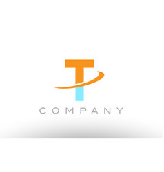t orange blue logo icon alphabet design vector image