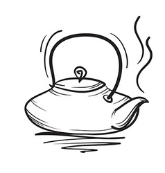 Teapot hand drawn Teapot icon vector image