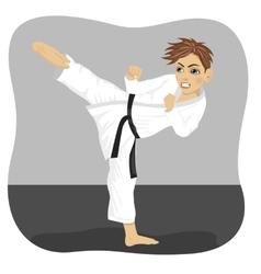 teenager black belt karate boy in kimono vector image