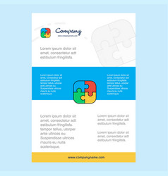 template layout for puzzle game comany profile vector image