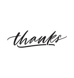 thanks handwritten lettering thankfulness vector image
