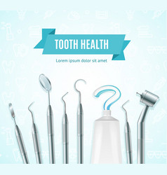tooth health concept banner card with realistic 3d vector image