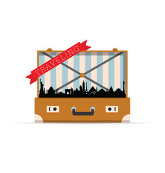 Traveling with vintage travel bag vector