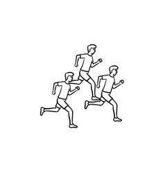 tree men running hand drawn outline doodle icon vector image