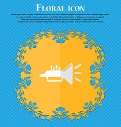 Trumpet brass instrument Floral flat design on a vector