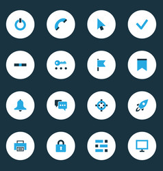 User icons colored set with launch checkmark vector