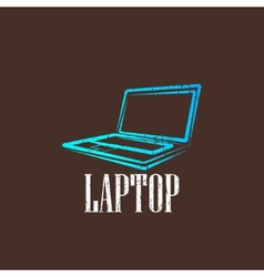 vintage with a laptop vector image