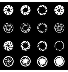 White camera shutter icon set vector