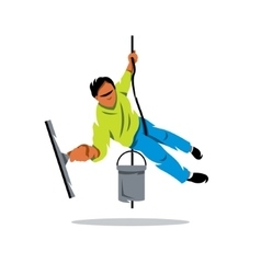 Window washer Cleaning service Cartoon vector image