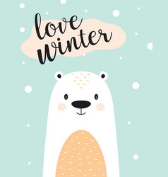 winter card with white bear vector image