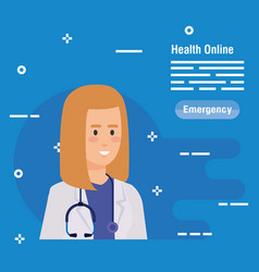 Woman doctor with stethoscope diagnosis equipment vector
