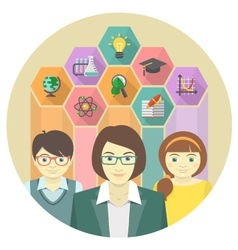 Woman teacher and pupils with colored hexagons vector