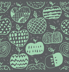 apple doodle seamless pattern vector image vector image
