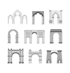 Arch set isolated on white vector image