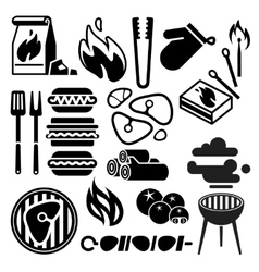 Black barbecue food flyer BBQ icons vector image